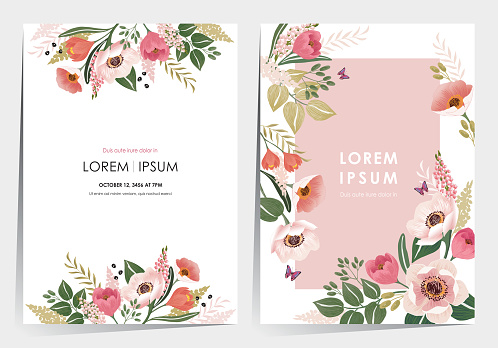 Vector illustration of a beatiful floral frame set for Wedding, anniversary, birthday and party.