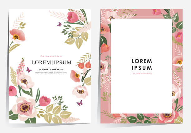 bildbanksillustrationer, clip art samt tecknat material och ikoner med vektor illustration av en vacker blommig ram som för bröllop, årsdag, födelsedag och fest. - blommönster