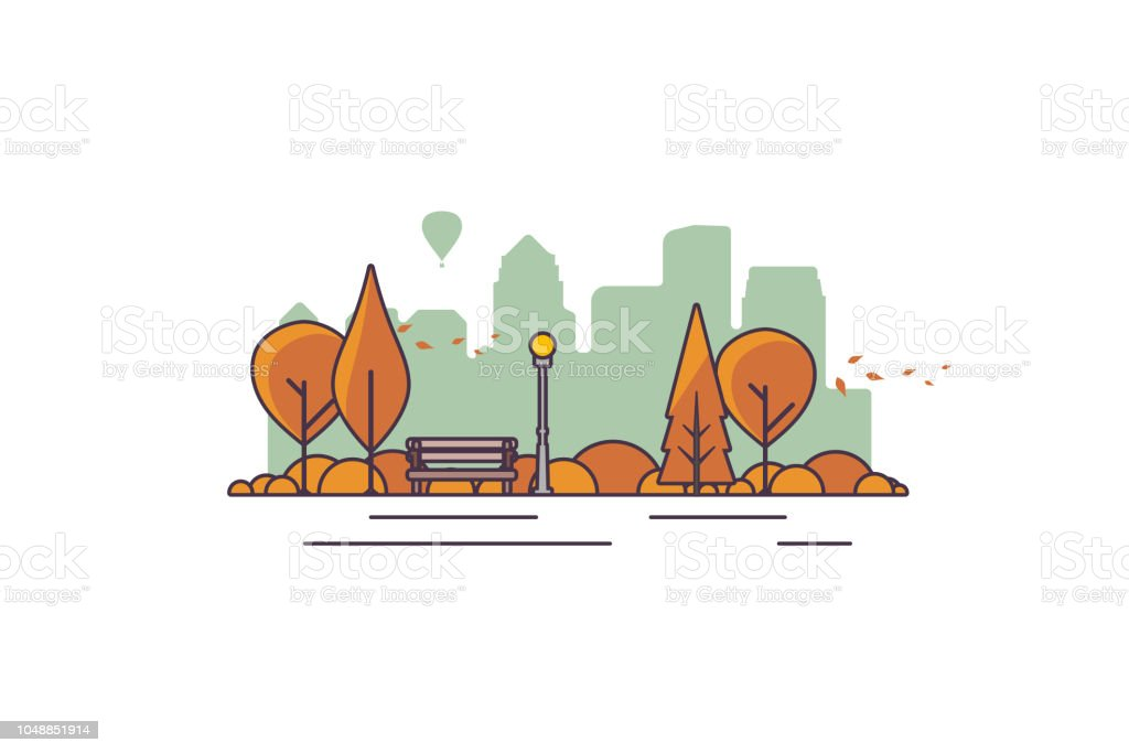 まちづくりの背景と美しい秋の市公園のベクター イラストです公園の夜