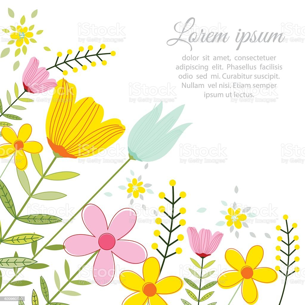 vector illustration of a beautiful floral border with spring flowers rh istockphoto com vector spring letterhead vector spring letterhead