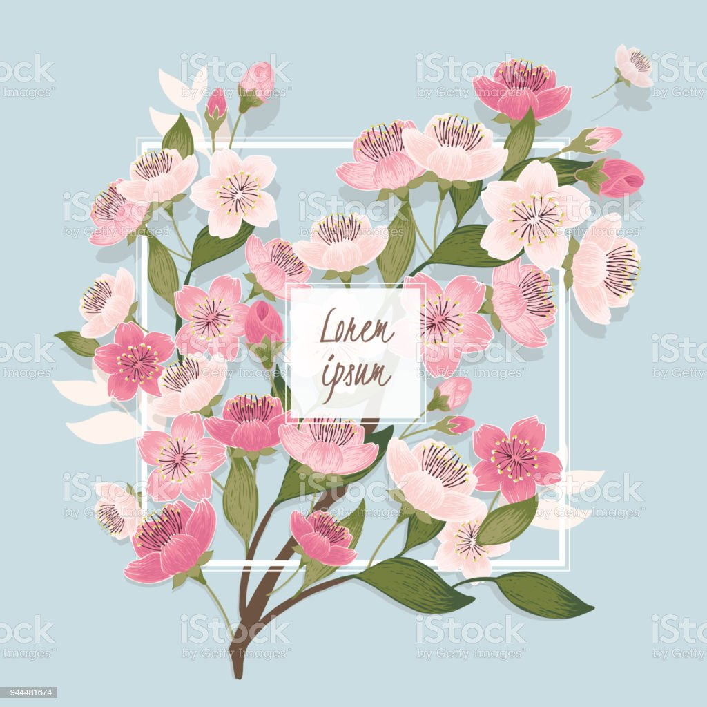 Vector Illustration Of A Beautiful Floral Bouquet With Cherry ...