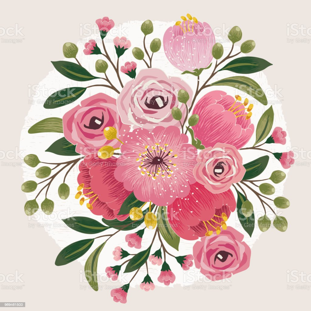 Vector illustration of a beautiful floral bouquet with spring formal garden south korea arts culture and entertainment beauty birthday vector illustration of a beautiful floral bouquet izmirmasajfo
