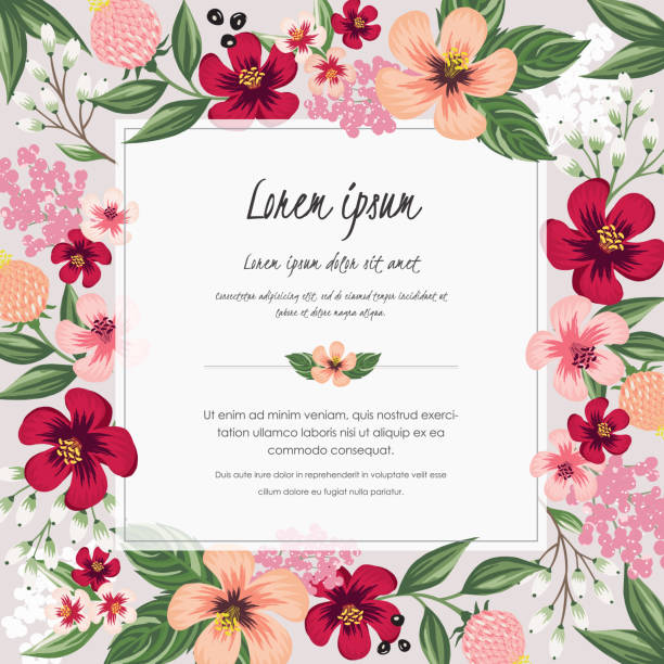 Vector illustration of a beautiful floral frame in spring. Design for banner, poster, card, invitation and scrapbook birthday borders stock illustrations