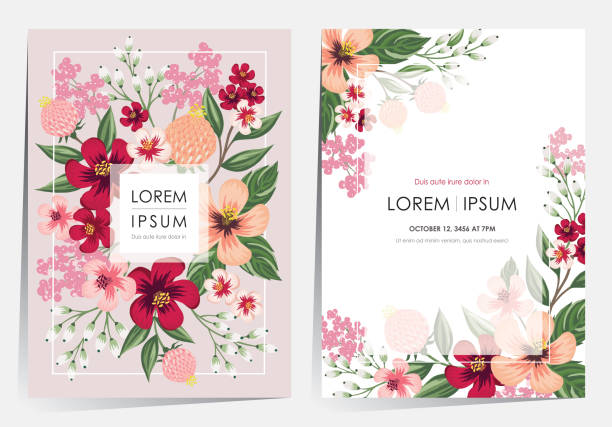 Vector illustration of a beautiful floral frame in spring. Design for banner, poster, card, invitation and scrapbook bunch stock illustrations