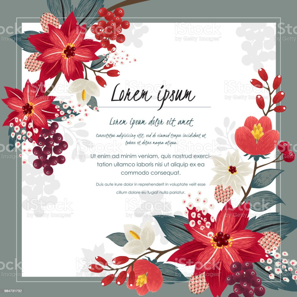 Vector Illustration Of A Beautiful Floral Frame In Winter For Happy ...