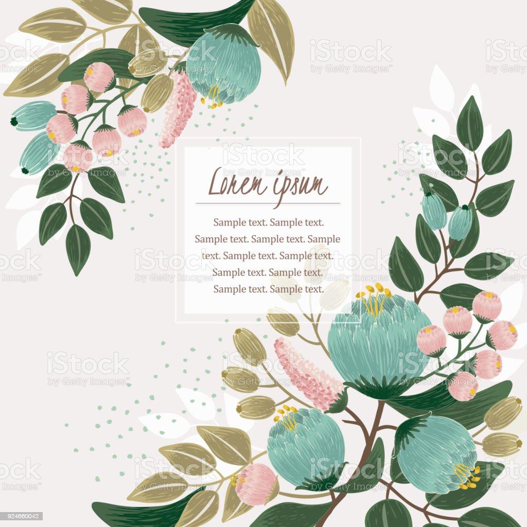 一個美麗的花卉框架與春天花的向量插圖。向量藝術插圖