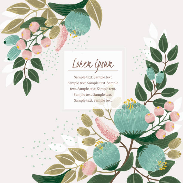 Vector illustration of a beautiful floral frame with spring flowers. Design for banner, poster, card, invitation and scrapbook birthday borders stock illustrations