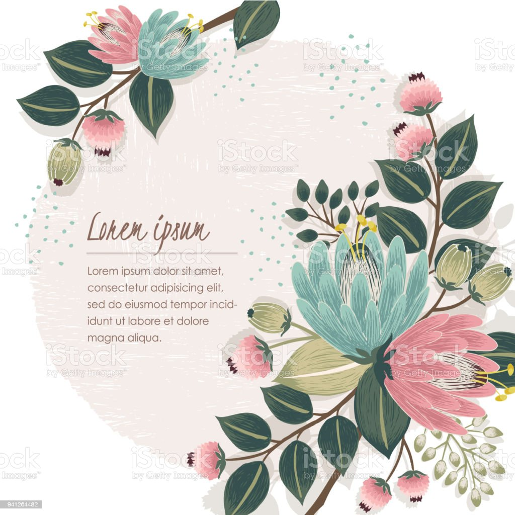 Vector Illustration Of A Beautiful Floral Frame With Spring Flowers
