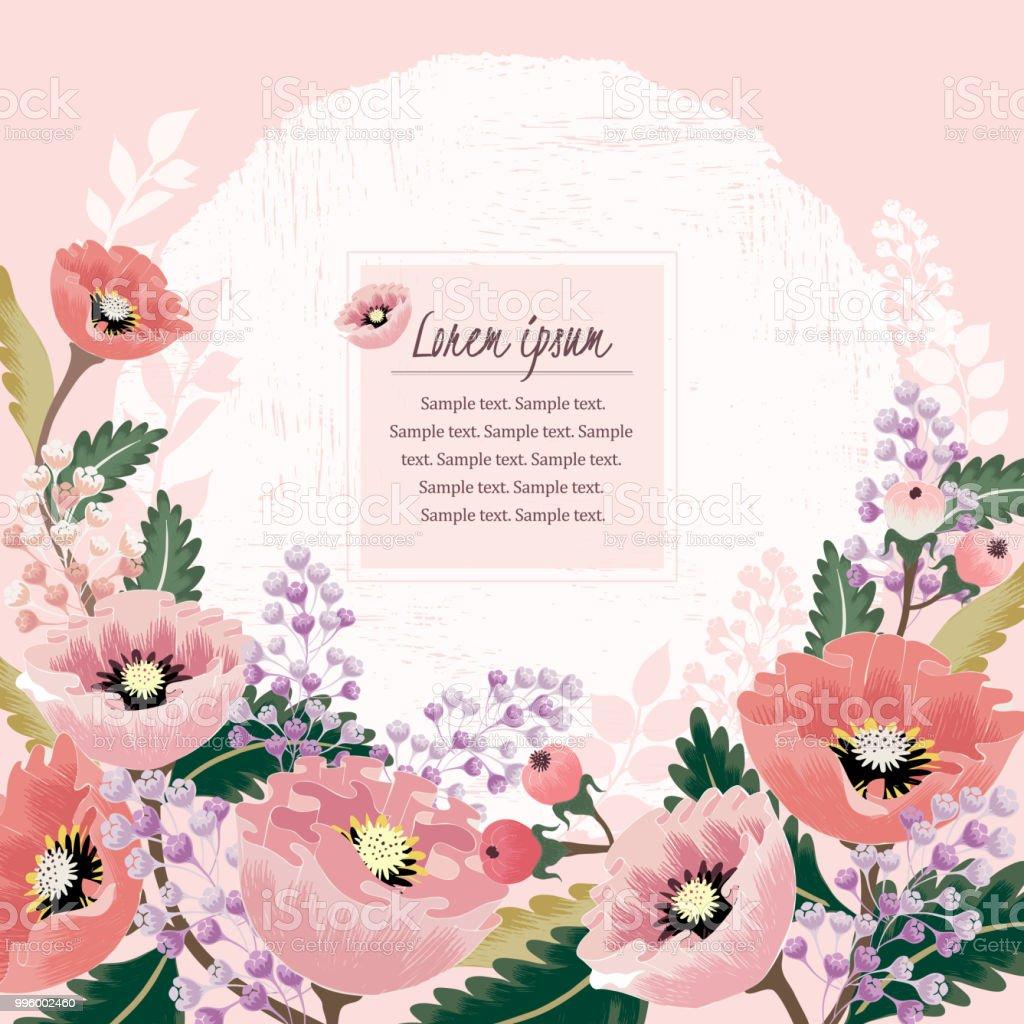 春の花を持つ美しい花のフレームのベクター イラストです I Love Youの