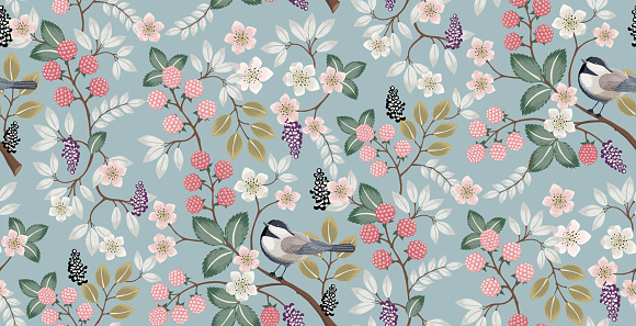 Vector illustration of a beautiful floral pattern with cute birds in spring.