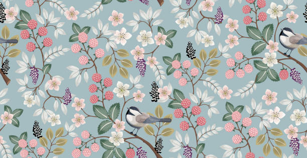 Vector illustration of a beautiful floral pattern with cute birds in spring. Design for banner, poster, card, invitation and scrapbook bird backgrounds stock illustrations