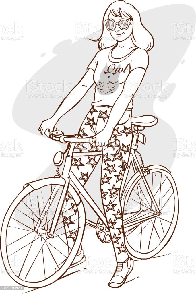 vector illustration of a beautiful girl riding bicycle vector art illustration