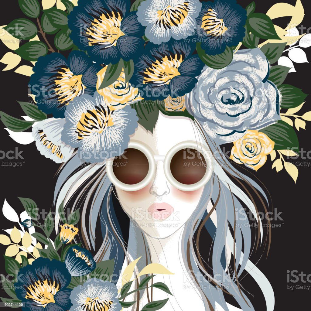 Vector Illustration Of A Beautiful Girl Wearing Headdress With