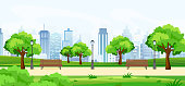 Vector illustration of a beautiful summer park, with green trees and benches, panoramic view on big modern cityscape with skyscrapers. Flat cartoon style