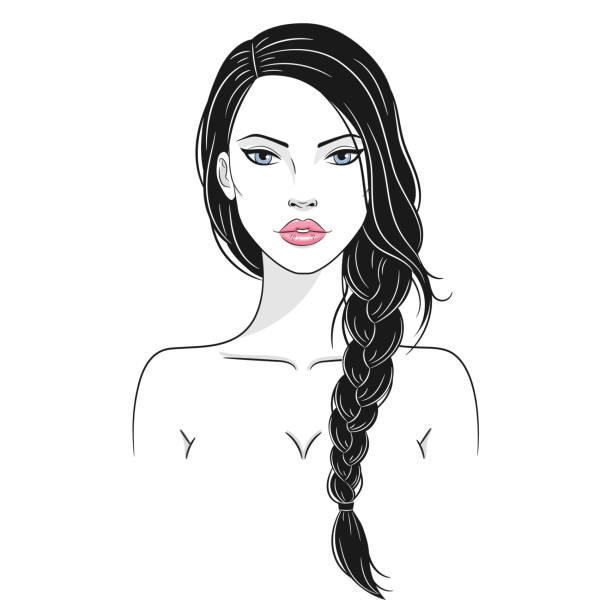 Vector illustration of a beautiful young woman with long braided hair Vector illustration of a beautiful young nude woman with side braid, isolated on white background. Fashion woman portrait beautiful woman stock illustrations