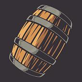 Color illustration of beer barrel on a dark background.