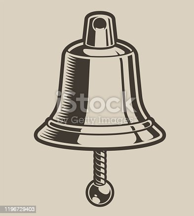 Vector illustration of a bell in engraving style. Isolated