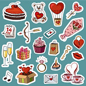 Vector illustration of a big collection of stickers for the holiday of Saint Valentine