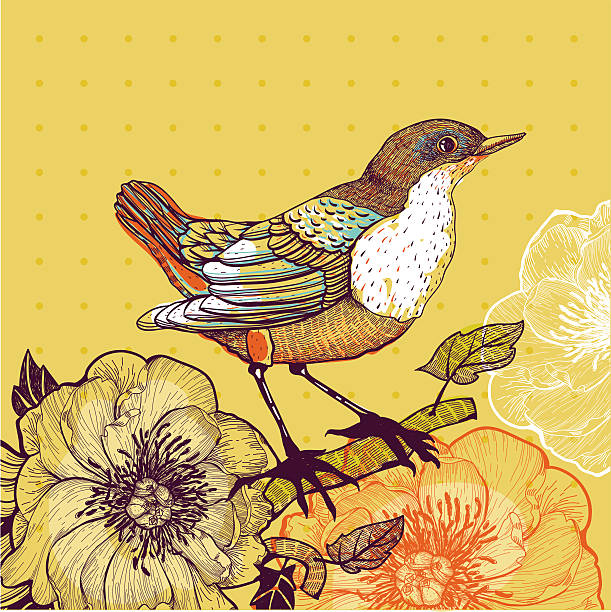 Vector illustration of a bird and wild roses on yellow vector illustration of a little bird sitting on the branch of a  wild rose wild rose stock illustrations