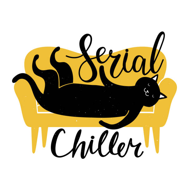 illustrazioni stock, clip art, cartoni animati e icone di tendenza di vector illustration of a black cat lying on an yellow sofa. serial chiller - calligraphy handwritten sarcastic quote. - divano procrastinazione