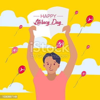 537761721 istock photo Vector illustration of a book for International Literacy Day. 1030897148