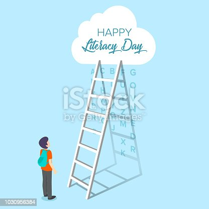 537761721 istock photo Vector illustration of a book for International Literacy Day. 1030956384