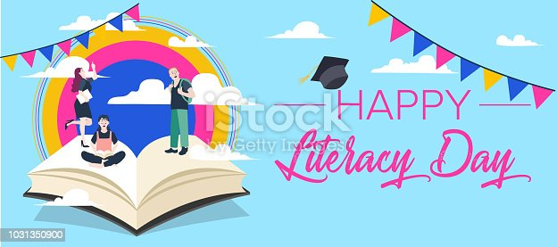 537761721 istock photo Vector illustration of a book for International Literacy Day. 1031350900