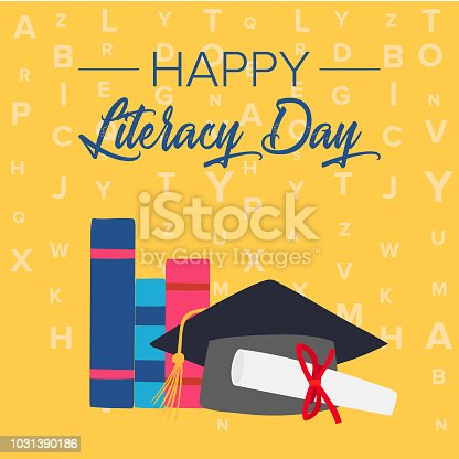 537761721 istock photo Vector illustration of a book for International Literacy Day. 1031390186