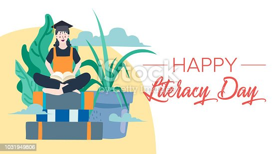 537761721 istock photo Vector illustration of a book for International Literacy Day. 1031949806