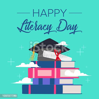 537761721 istock photo Vector illustration of a book for International Literacy Day. 1032027280