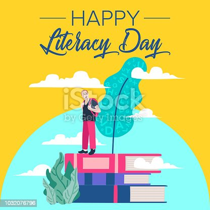 537761721istockphoto Vector illustration of a book for International Literacy Day. 1032076796