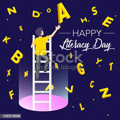 537761721 istock photo Vector illustration of a book for International Literacy Day. 1032078036