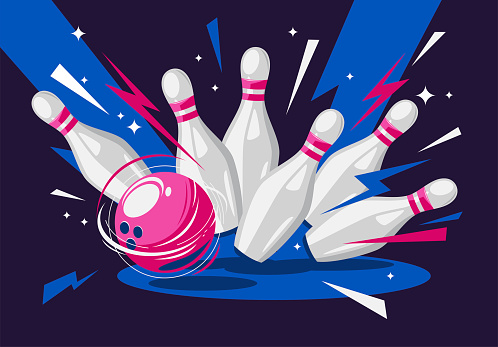 Vector illustration of a bowling ball and pins, a bowling strike, a flying bowling ball