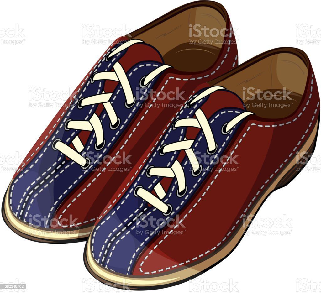 Vector illustration of a bowling classic blue red shoes for design, print and web vector art illustration