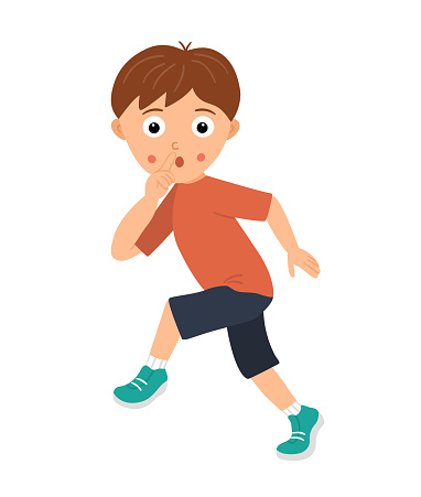 Vector illustration of a boy sneaking silently holding a finger at his mouth in sign of silence. Kid going cautiously asking not to reveal him or his secret. Flat funny character illustration
