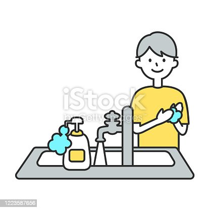 Illustration of  man washing hands. Vector Illustration For encouraging Kids to Wash their Hands.