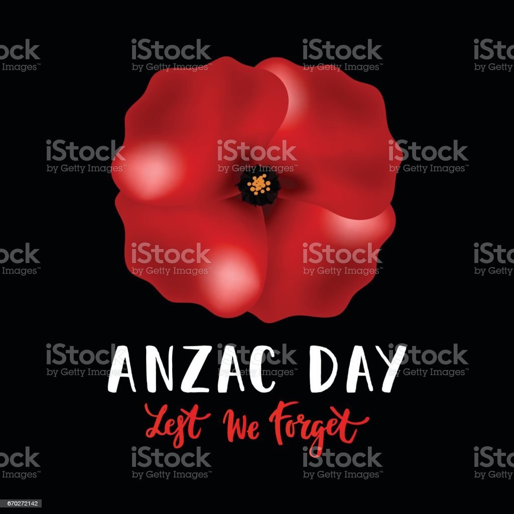 Vector illustration of a bright poppy flower. Anzac day symbol. vector art illustration