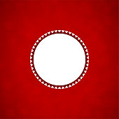 A maroon coloured vector illustration of a christmas background with a circular shaped patch at the middle with small hearts arranged beautifully all around the circle. Apt for Valentine's Day, Christmas, New Year Day theme backgrounds, Xmas greeting cards, posters, gift wrapping paper and backdrops. The red background is blotchy with a patchy look.