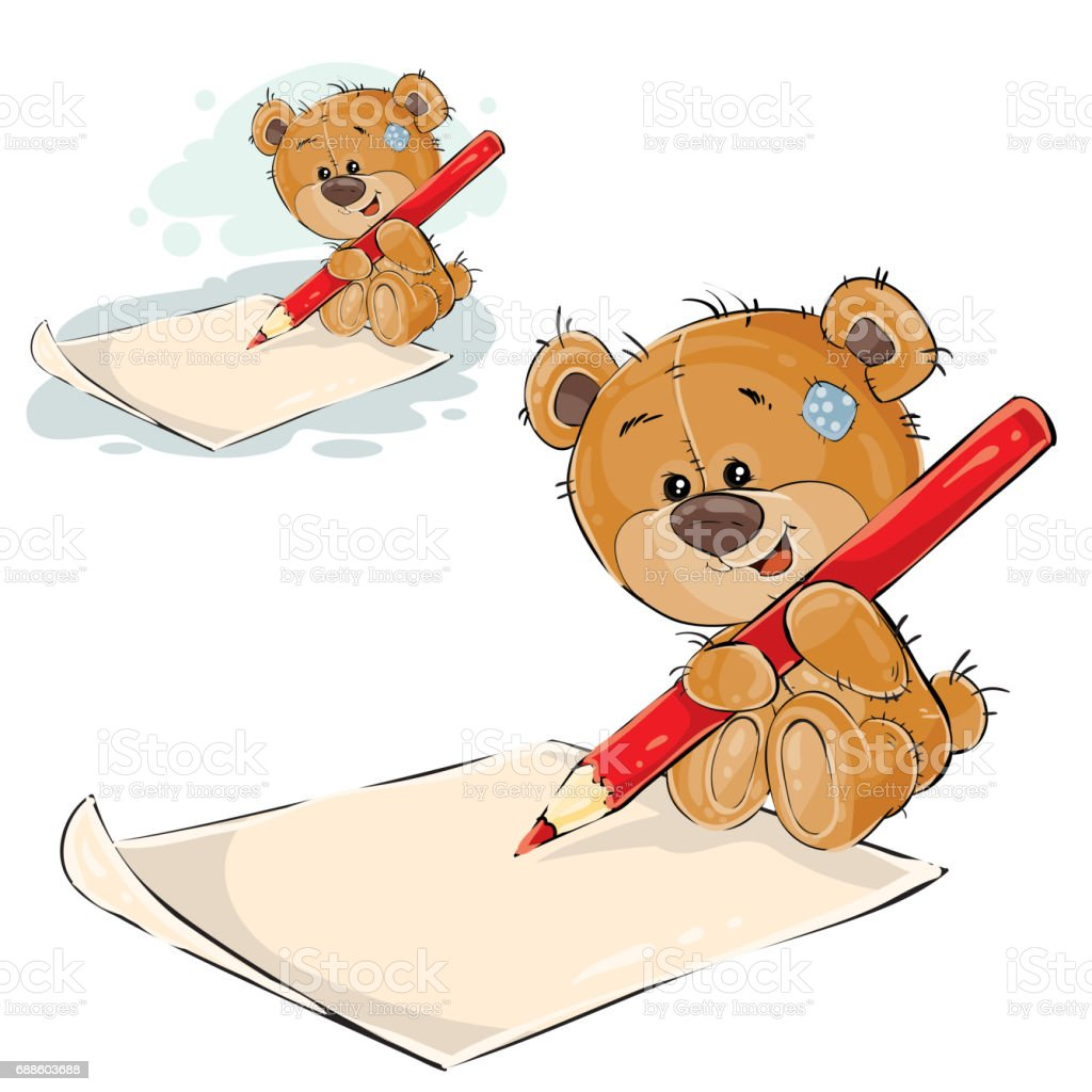 vector illustration of a brown teddy bear holding a pencil in his rh istockphoto com Kiss Clip Art Your the Best Clip Art