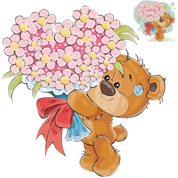 Royalty Free Cute Little Teddy Bear Giving A Bouquet Flower Clip Art ...