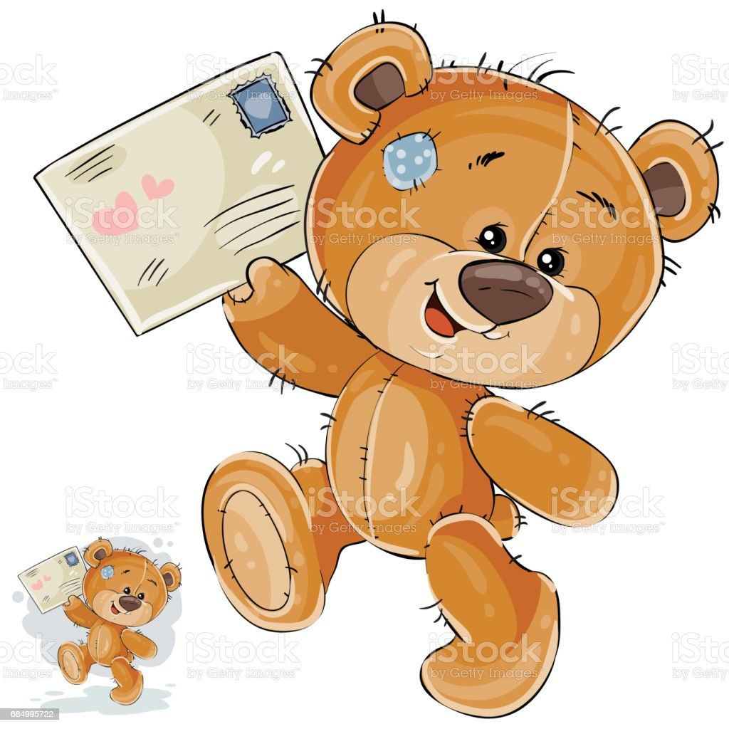Vector Illustration Of A Brown Teddy Bear Holding In Its Paws ...
