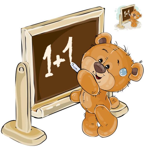 vektor-illustration ein brauner teddybär steht durch die tafel und schreibt darauf mit kreide - puppenkurse stock-grafiken, -clipart, -cartoons und -symbole