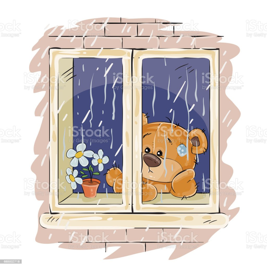 Vector illustration of a brown teddy bear looks out the window on the rain and sad vector art illustration