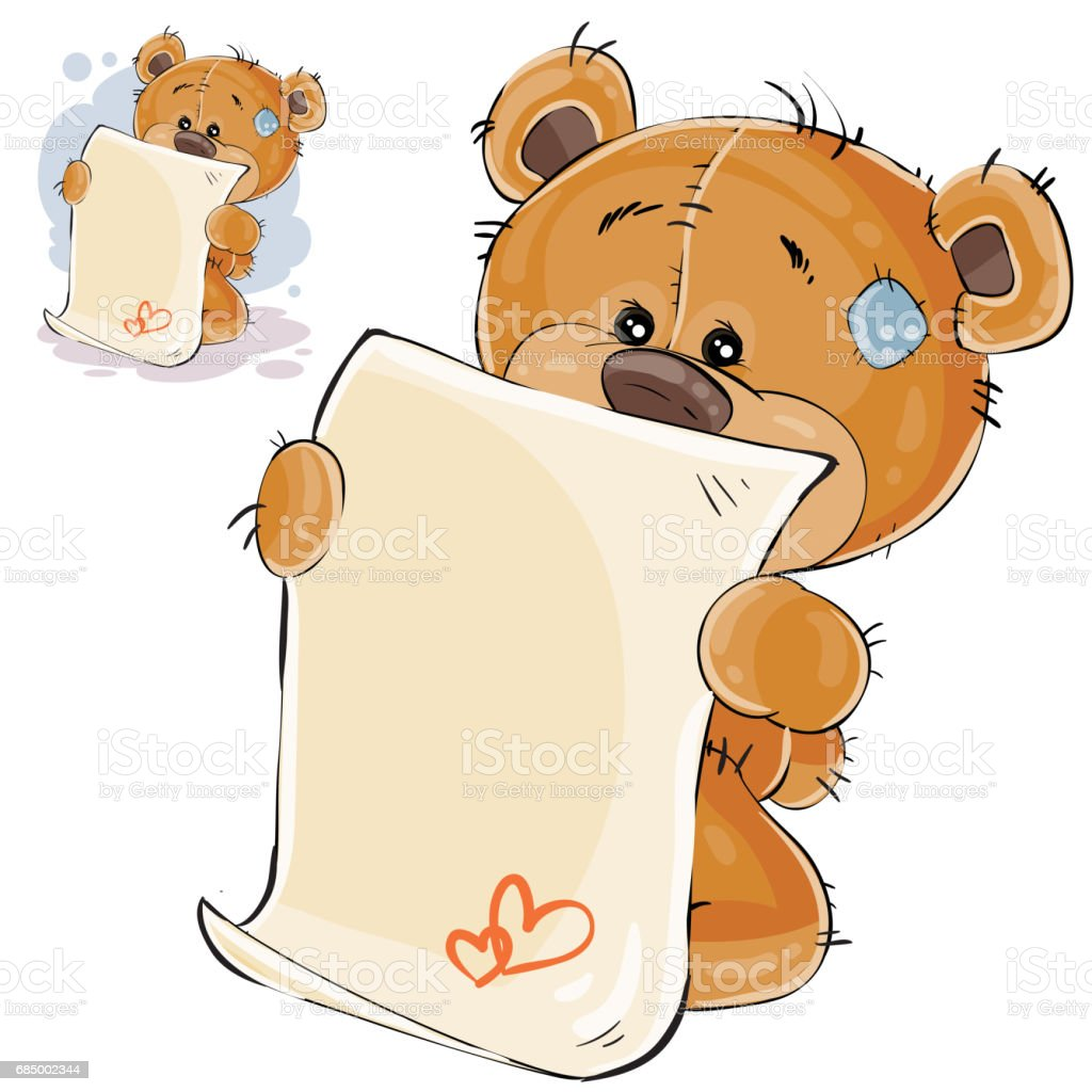 Vector Illustration Of A Brown Teddy Bear Misses And Wrote A Love ...