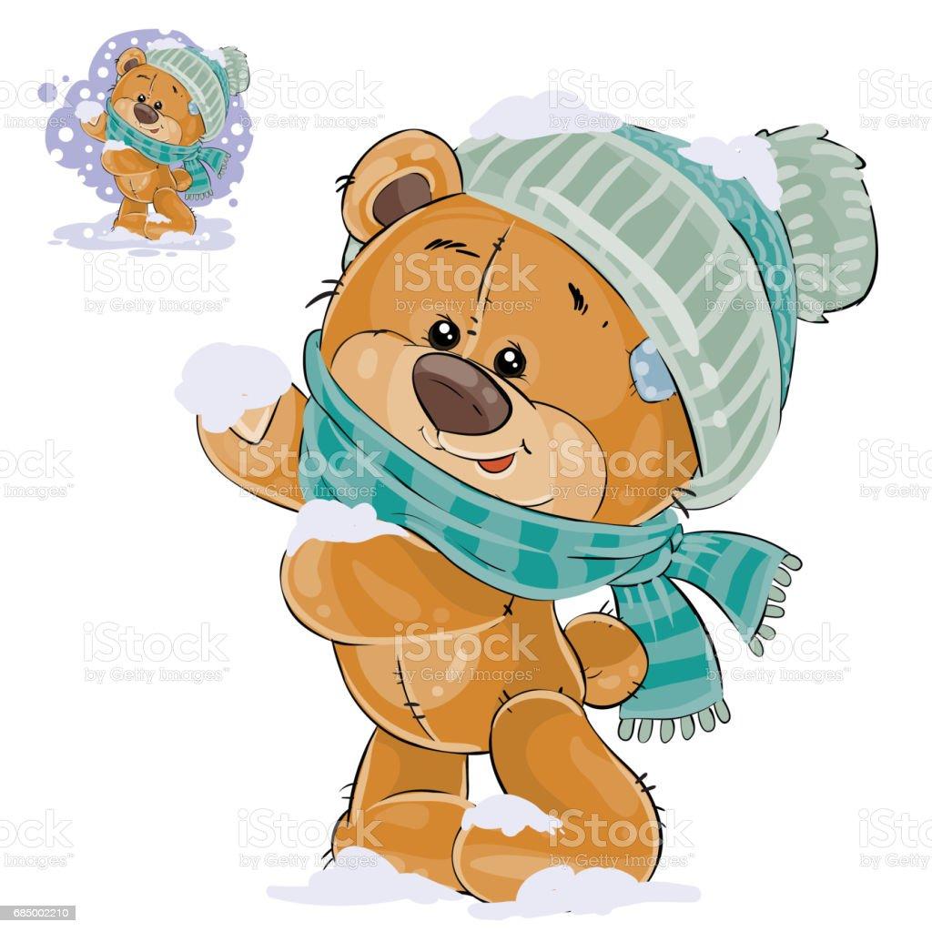 茶色のテディベアを積雪の歓喜のベクトル イラスト おもちゃのベクター