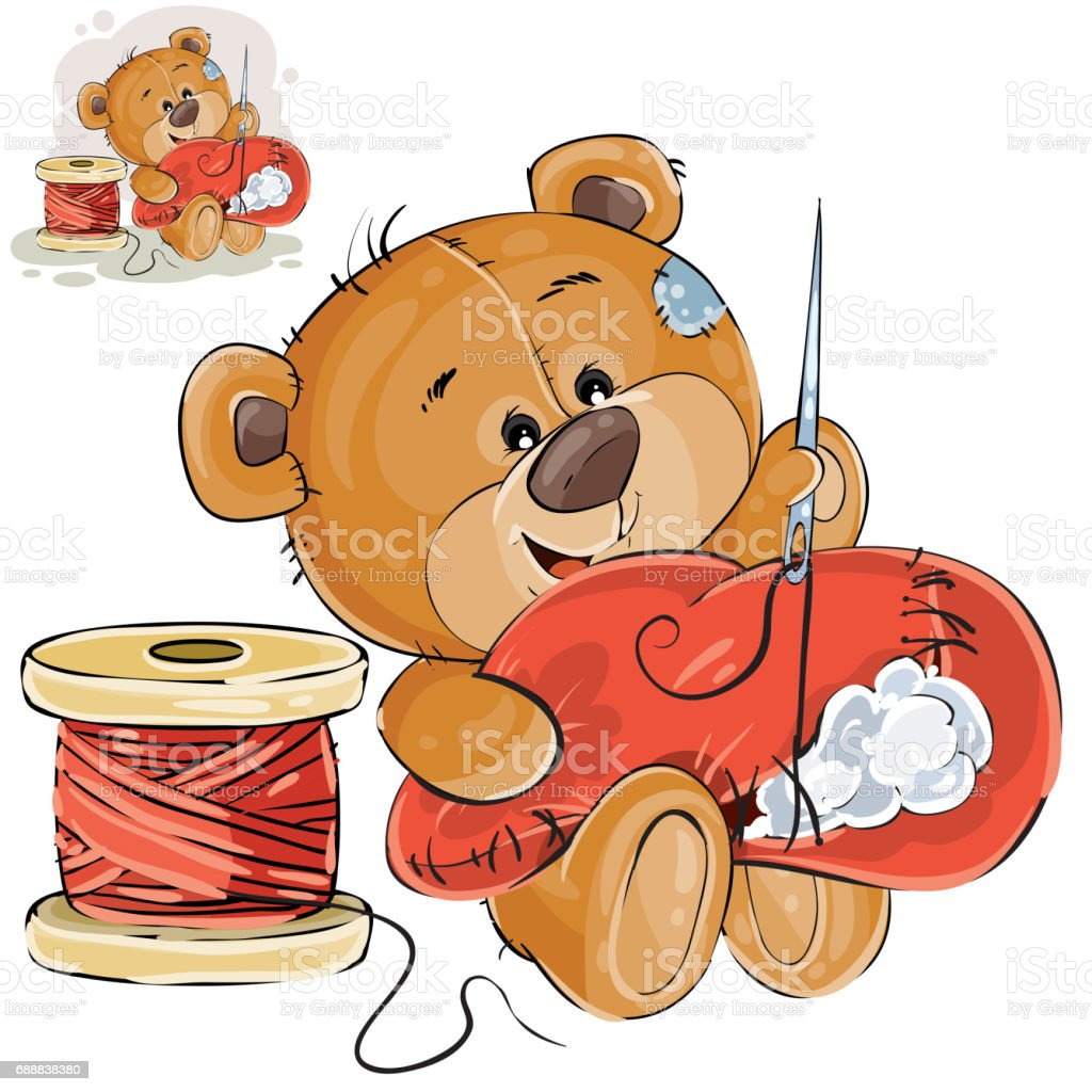 Vector illustration of a brown teddy bear tailor holding in his paw needle and thread and sewing something, needlework vector art illustration