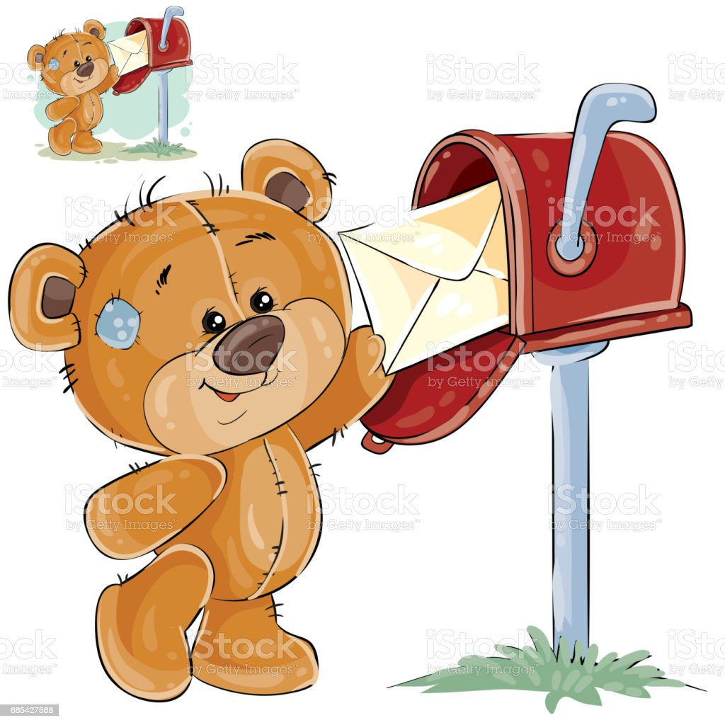 vector illustration of a brown teddy bear takes from a mailbox the