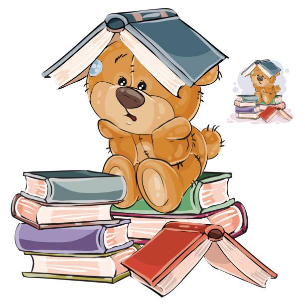 vektor-illustration ein brauner teddybär müde zu studieren und ein offenes buch auf den kopf gestellt - puppenkurse stock-grafiken, -clipart, -cartoons und -symbole