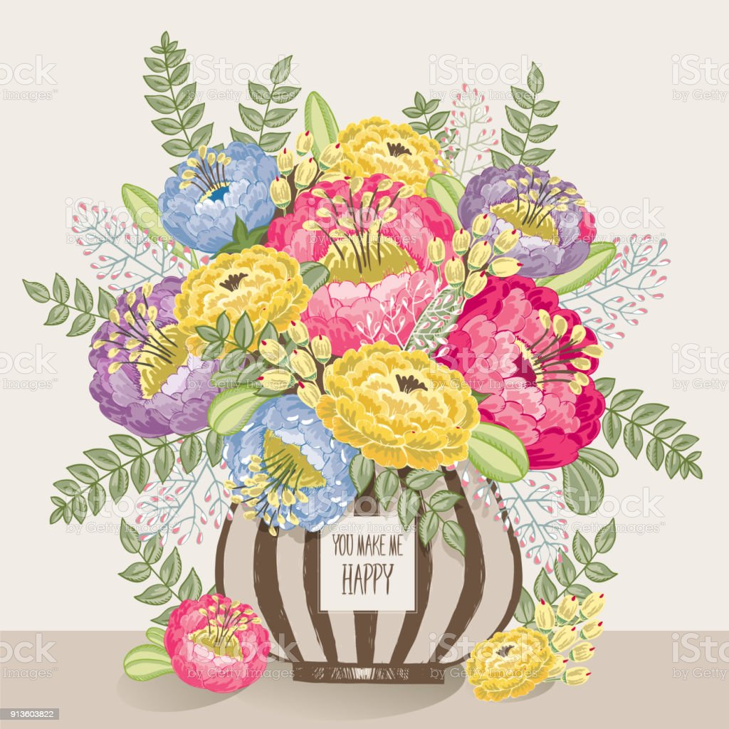 Vector Illustration Of A Bunch Of Beautiful Flowers In A Striped