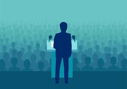 Vector illustration of a businessman or politician speaking to a large crowd of people